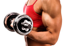 Fit woman with a barbell Royalty Free Stock Photo
