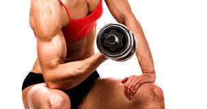 Fit woman with a barbell Royalty Free Stock Photos