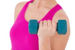 Fit woman with blue dumbbell Royalty Free Stock Photo