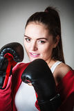Fit woman boxing. Stock Photos