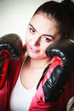 Fit woman boxing. Royalty Free Stock Photos
