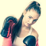Fit woman boxing Stock Images