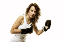 Fit woman boxing - isolated over  white Royalty Free Stock Photos
