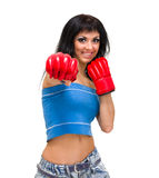 Fit woman boxing, isolated over a white background Stock Photo