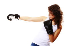 Fit woman boxing - isolated over white Royalty Free Stock Photography