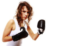 Fit woman boxing - isolated over white Stock Image