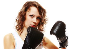 Fit woman boxing - isolated over white Stock Images