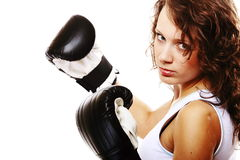 Fit woman boxing - isolated over white Royalty Free Stock Images