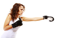 Fit woman boxing - isolated over white Royalty Free Stock Photo