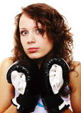 Fit woman boxing - isolated over white Stock Photo