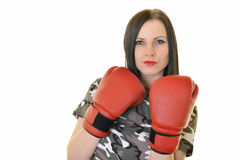 Fit Woman Boxing Royalty Free Stock Photography