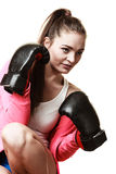Fit woman boxing isolated on white. Emancipation and feminist. Defense concept. Young fit woman boxing isolated on white royalty free stock photos
