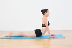 Fit woman doing the cobra pose in fitness studio Royalty Free Stock Photography