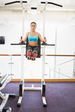 Fit woman doing crossfit fitness workout in gym Stock Photos