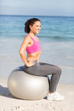 Fit woman doing fitness on exercise ball Stock Photos