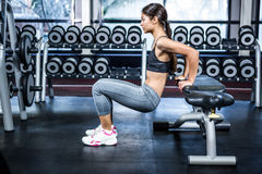 Fit woman doing fitness exercises stock photo