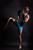 Fit woman doing kickbox Royalty Free Stock Photo