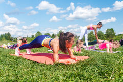 Fit woman doing plank exercise, working on abdominal midsection muscles. Fitness girl core workout in nature. Stock Photo