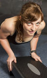 Woman exercise push up. Stock Photos