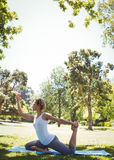 Fit woman doing yoga in the park Stock Images