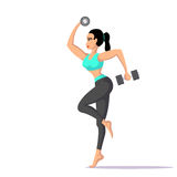 Fit woman with dumbbells. Picture of young fit woman with two dumbells, fitness and sport concept, flat style illustration Royalty Free Stock Photo