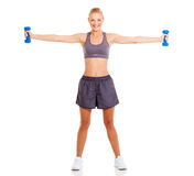 Fit woman dumbbells Royalty Free Stock Image