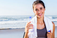 Fit woman after exercise Royalty Free Stock Image