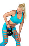 Fit woman exercise with kettle bell Stock Image