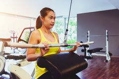 Fit woman exercising building muscles Royalty Free Stock Photo