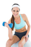 Fit woman exercising with dumbbell on fitness ball Stock Photo