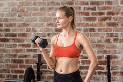 Fit woman exercising with dumbbell Stock Photos
