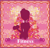 Fit woman exercising - silhouette,abstract card Royalty Free Stock Photo