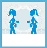 Fit woman exercising - silhouette,abstract card Royalty Free Stock Image