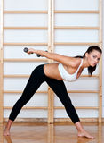 Fit woman in fitness pose Stock Images