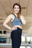 Fit woman with foam roller Stock Photos