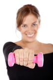 Fit woman with free-weights Stock Image