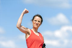 Fit woman happy of victory. Stock Photography