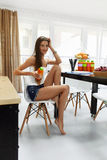 Fit Woman On Healthy Diet With Detox Juice, Smoothie. Nutrition Royalty Free Stock Photos