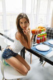 Fit Woman On Healthy Diet With Detox Juice, Smoothie. Nutrition Stock Image