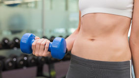 Fit woman holding blue dumbbell mid section Stock Image