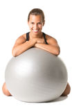 Fit Woman Holding a Pilates Ball Stock Photo