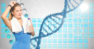 Fit woman holding water bottle against DNA structure stock illustration