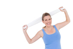Fit woman holding white towel Stock Photos