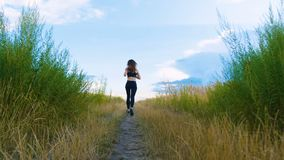 Fit Woman Jogging Exercising Running Cardio outdoor at summer field. Workout Female Runner. Fit Woman Jogging Exercising Running Cardio outdoor. Workout Female stock footage