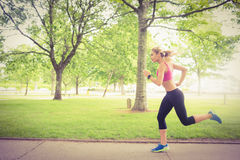 Fit woman jogging in park Stock Images
