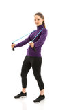 Fit woman with jump rope. Full lenght Stock Image