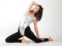 Fit Woman in Leotard and Leggings Stock Images