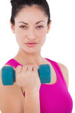 Fit woman lifting blue dumbbell Stock Photography
