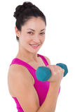Fit woman lifting blue dumbbell Stock Photo