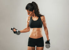 Fit woman lifting chrome dumbbell weights Royalty Free Stock Photos